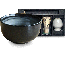 Matcha bowl set met lepel, houder en theeklopper BLACK